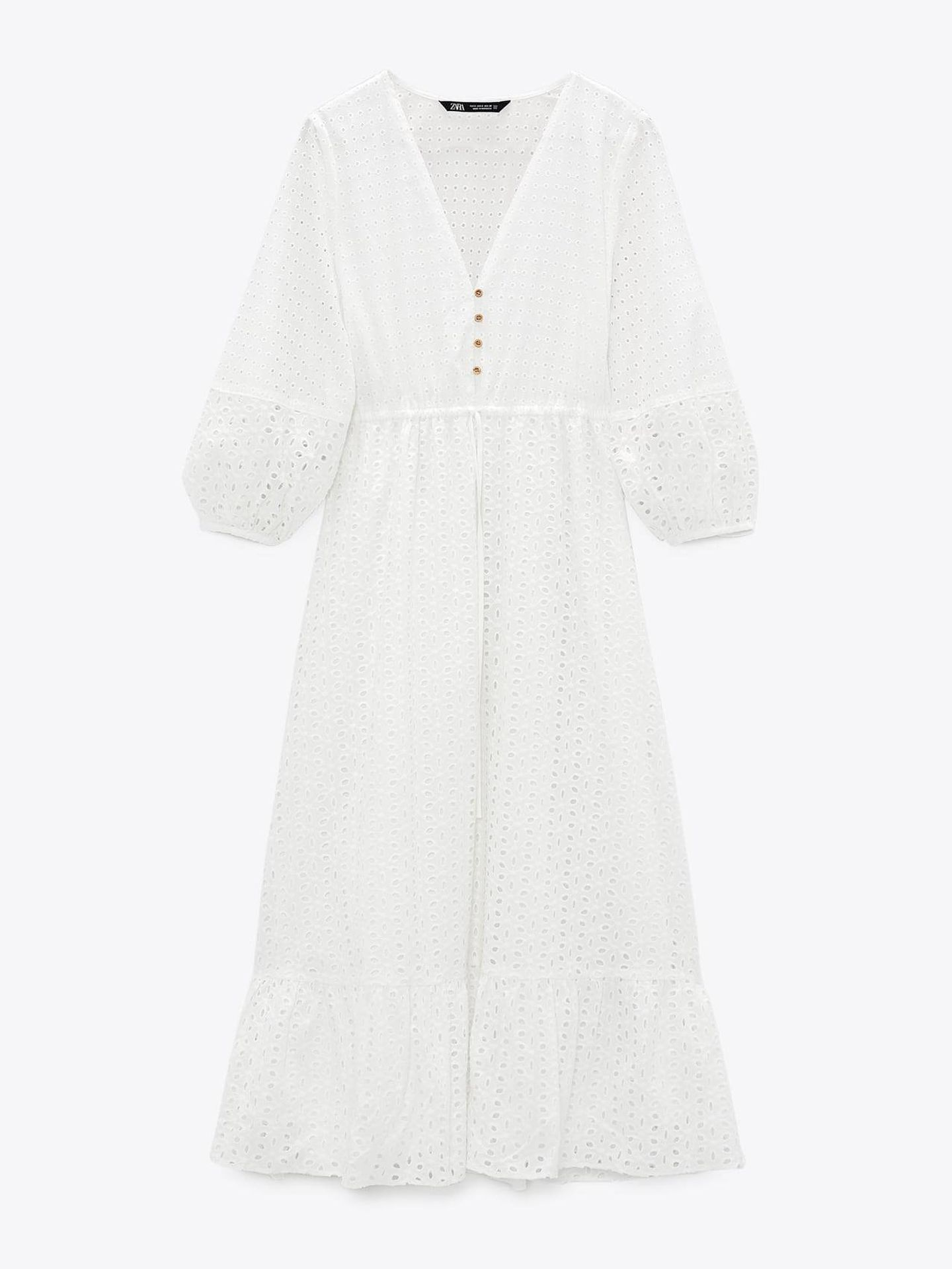 Vestido de novia boho de Zara. (Cortesía)