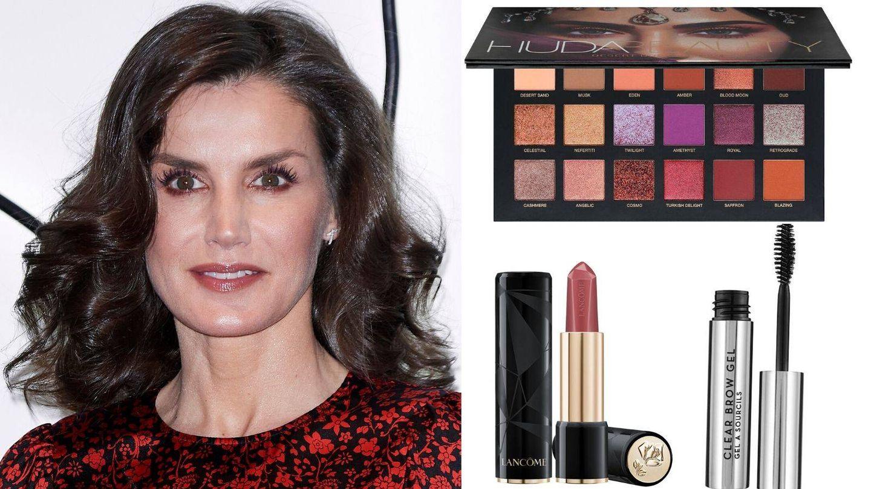 Imagen detalle de la reina Letizia y cosméticos con los que recrear su look. (Getty)
