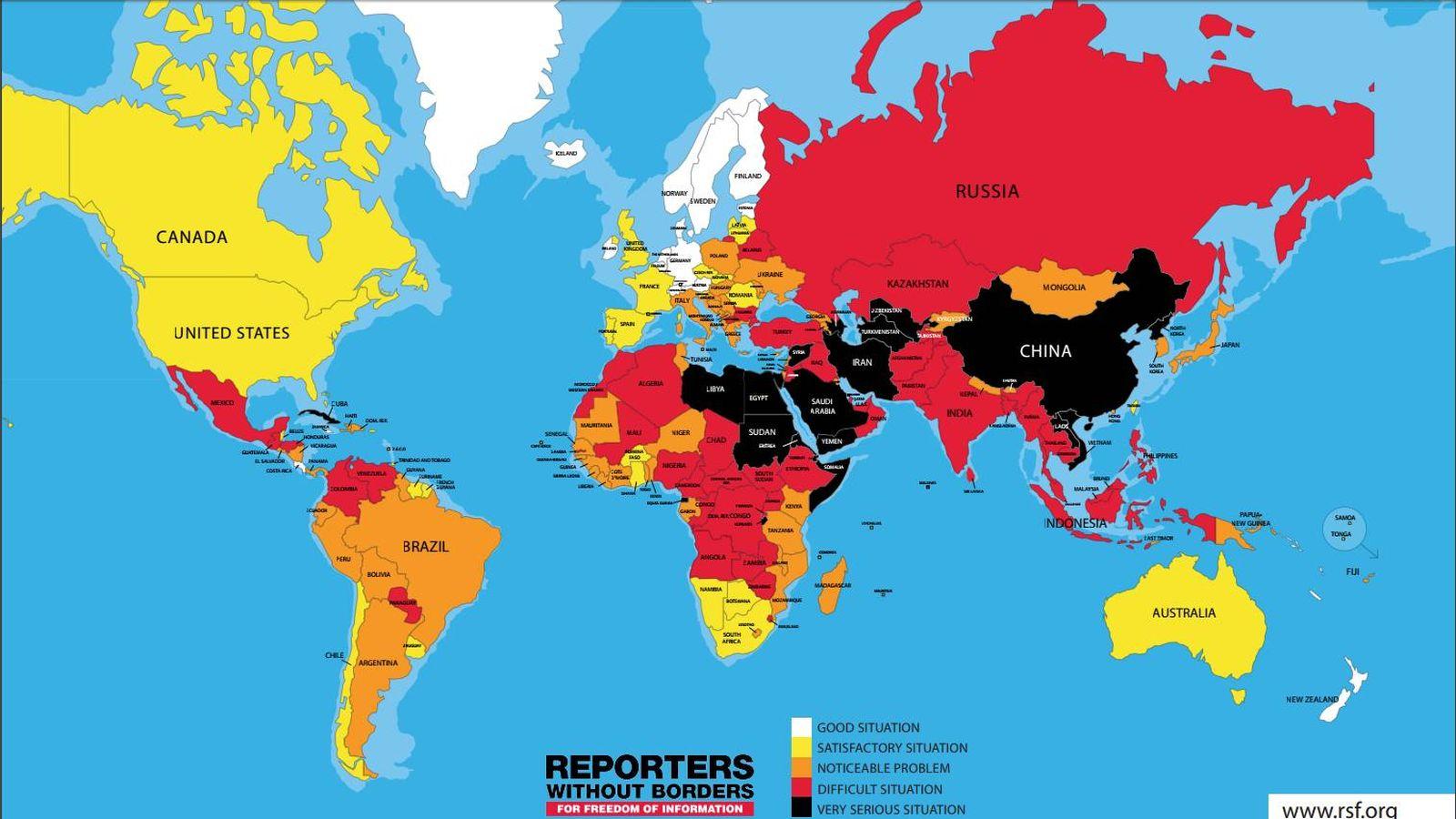 Foto: Libertad de prensa en el mundo. (Reporteros sin Fronteras)