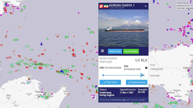 Posición del petrolero el viernes, con Kalamata todavía como su puerto de destino declarado