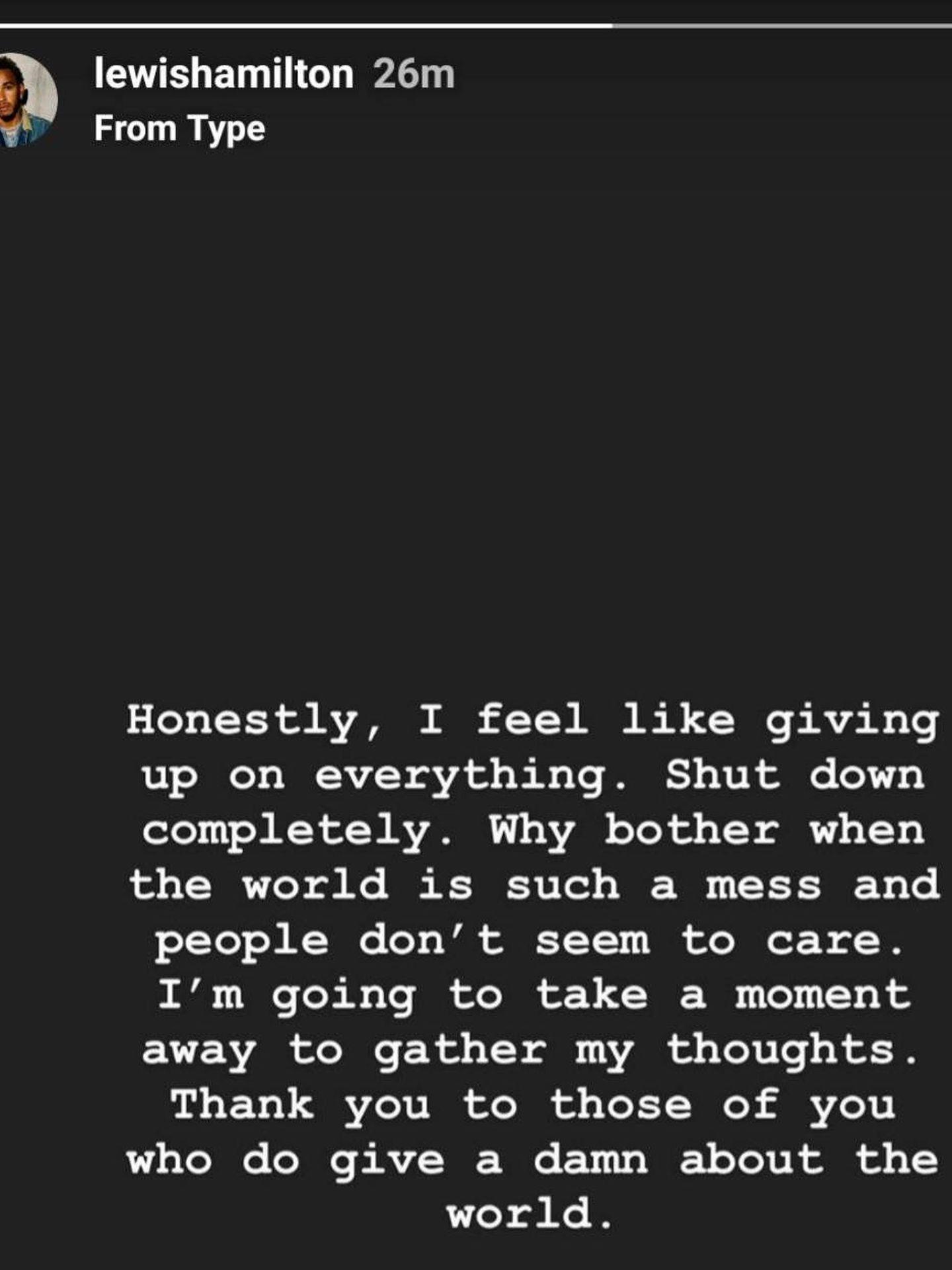 Lewis Hamilton y su mensaje en Instagram.
