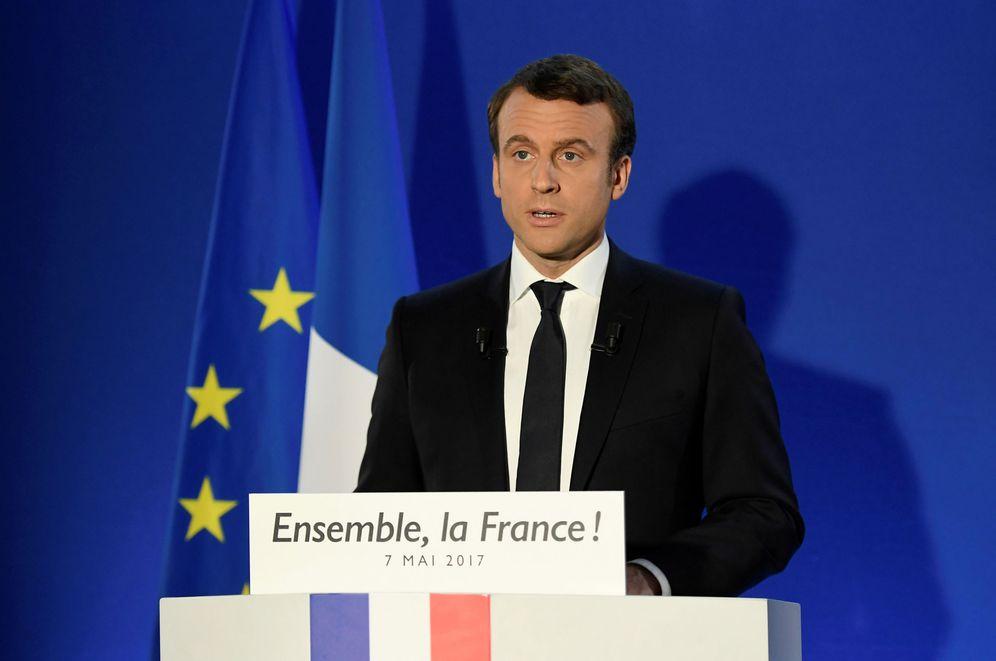 Foto: Emmanuel Macron, nuevo presidente de Francia, en la sede de su campaña tras conocerse los resultados. (Reuters)