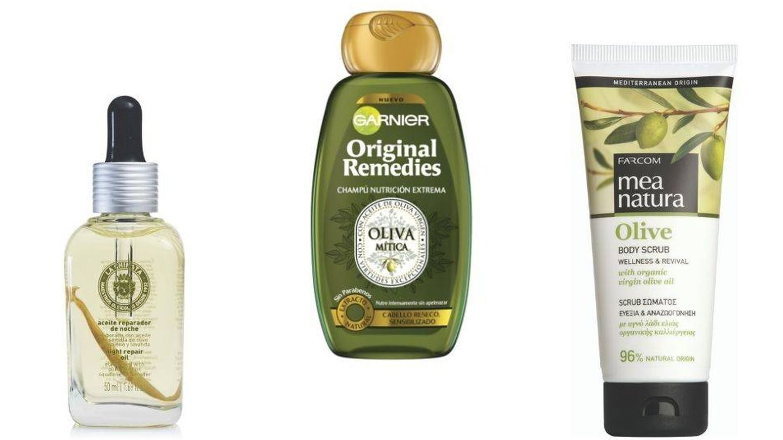 Cosméticos elaborados con aceite de oliva.