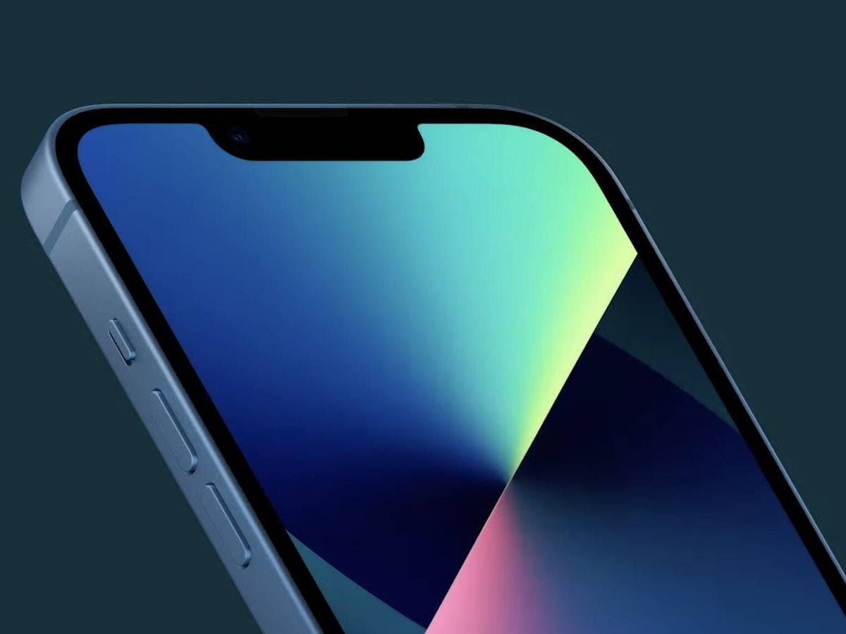 Foto: iPhone 13, con un notch más pequeño. Foto: Apple.