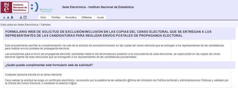 Sede Electrónica del INE