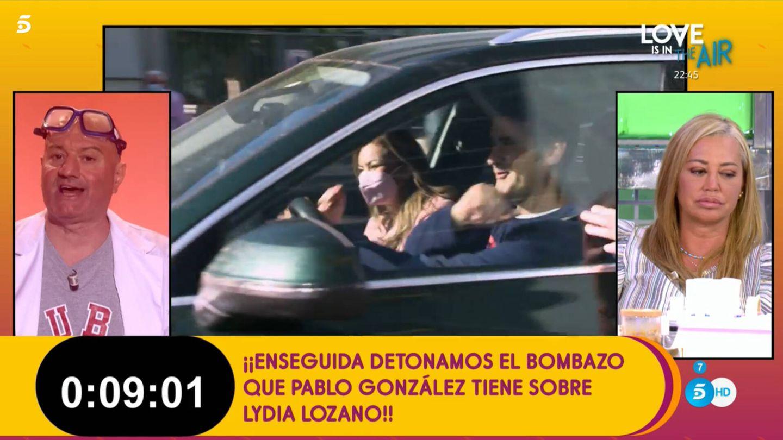 Belén Esteban y Pablo, en 'Sálvame'. (Telecinco)