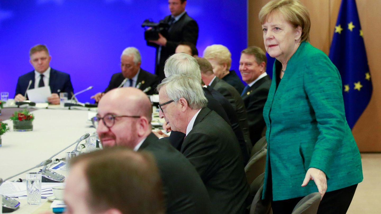 La canciller Angela Merkel durante la cumbre europea en Bruselas. (EFE)