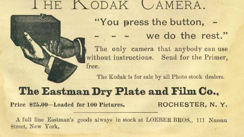 Uno de los anuncios de la casa Kodak de 1889 (Wikimedia)
