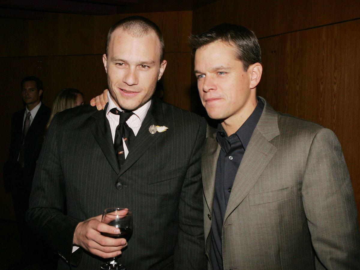 Foto: Heath Ledger y Matt Damon, en el estreno de 'Los hermanos Grimm'. (Getty)