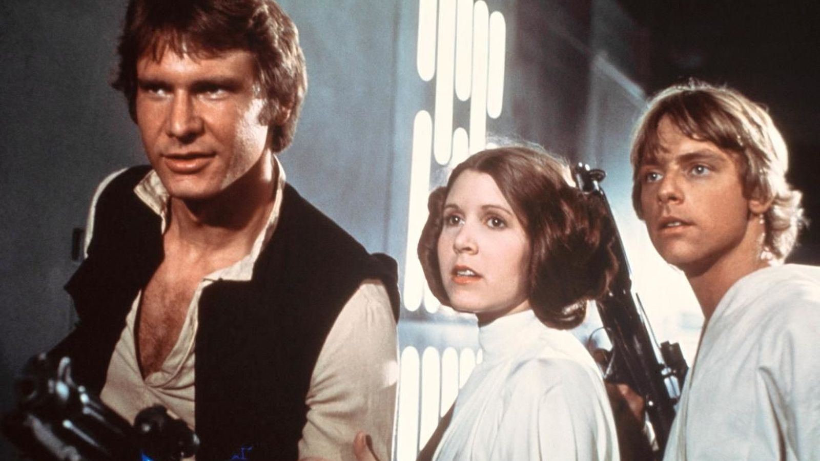 Foto: Harrisond Ford, Carrie Fisher y Mark Hamill en la película original de 1977.