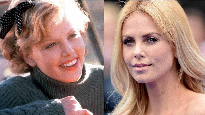 Charlize Theron, en 1999 y en 2012. (Getty)