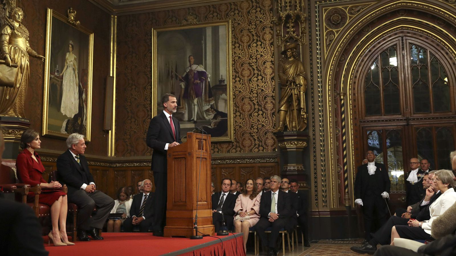 Foto: El rey Felipe pronuncia su discurso en el Palacio de Westminster. (EFE)
