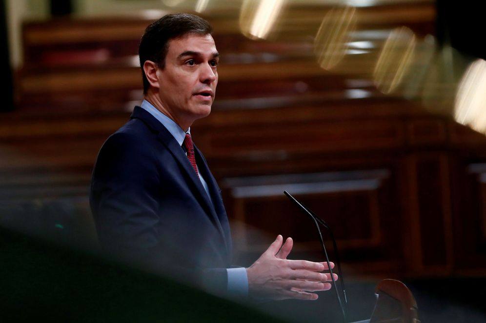 Foto: Pedro Sánchez, este 9 de abril durante su intervención en el Congreso por la segunda prórroga del estado de alarma. (Reuters)