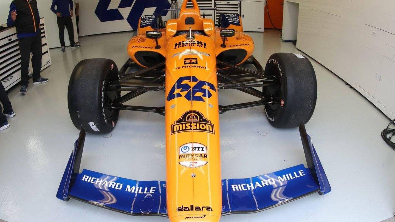 El coche de Fernando Alonso para las 500 Millas de Indianápolis. (Twitter: @McLarenIndy)