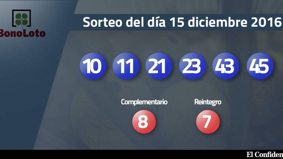 Resultados del sorteo de la Bonoloto del 15 diciembre 2016: números 10, 11, 21, 23, 43, 45