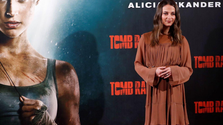 Alicia Vikander presenta 'Tomb Raider' en Madrid. (Efe)