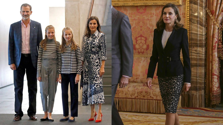La reina Letizia viste animal print. (EFE / Getty)