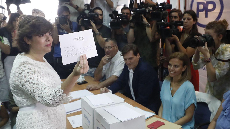 La candidata a la presidencia del Partido Popular Soraya Sáenz de Santamaría. (EFE)
