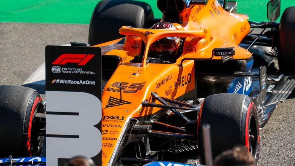 Foto: Carlos Sainz logró por segunda vez en 2020 un tercer puesto, pero esta vez en seco (Formula 1)