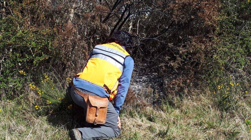 Foto: Imagen de uno de los expertos analizando uno de los pequeños incendios. (Sernageomin)