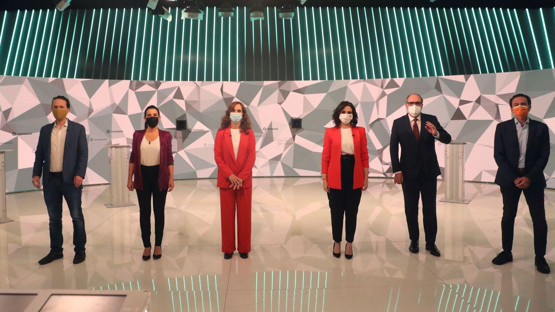 Los candidatos a la presidencia de la Comunidad de Madrid, en el debate de Telemadrid. (EFE)