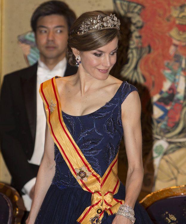 Foto: La Reina Letizia durante la cena de gala. (Gtres)