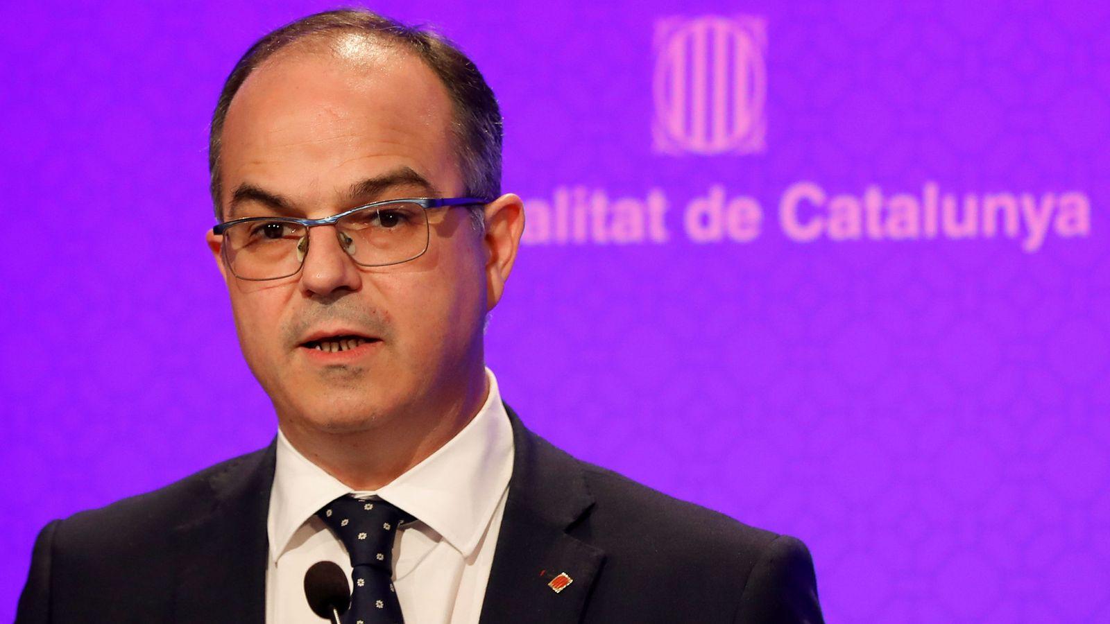 Foto: El conseller de Presidencia, Jordi Turull, este martes en rueda de prensa. (REUTERS)