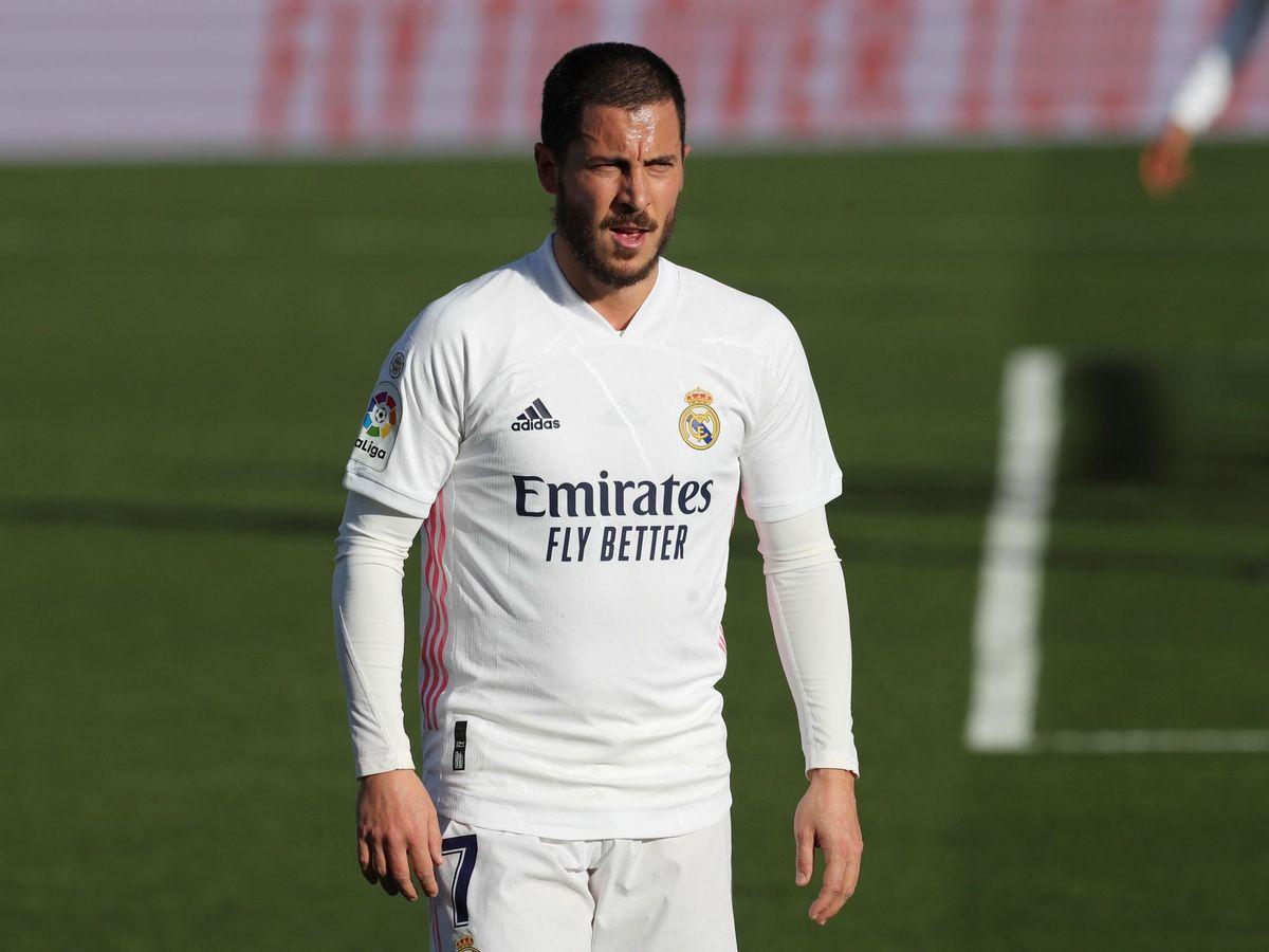 Foto: Eden Hazard en una imagen reciente con el Real Madrid. (EFE)