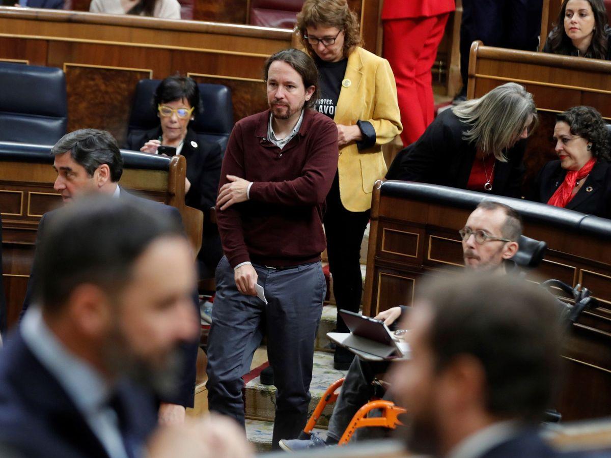 Foto: El líder de Unidas Podemos, Pablo Iglesias, en el Congreso. (EFE)