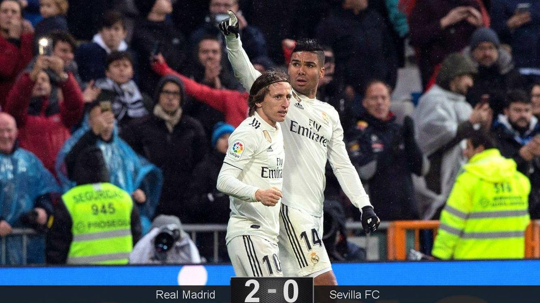 Foto: Casemiro y Modric fueron los goleadores del Real Madrid en la victoria ante el Sevilla. (EFE)