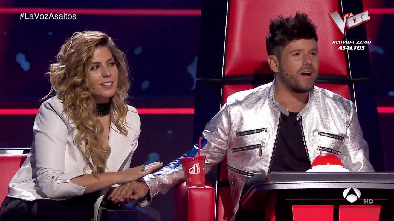 Miriam Rodríguez y Pablo López en 'La Voz'. (Atresmedia Televisión)