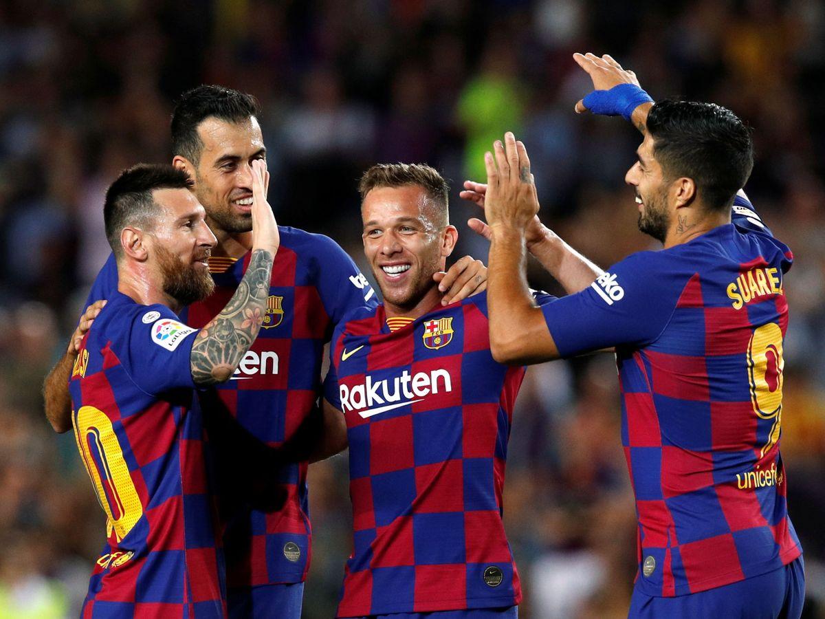 Foto: Arthur celebrando un gol en el Camp Nou. (Reuters)
