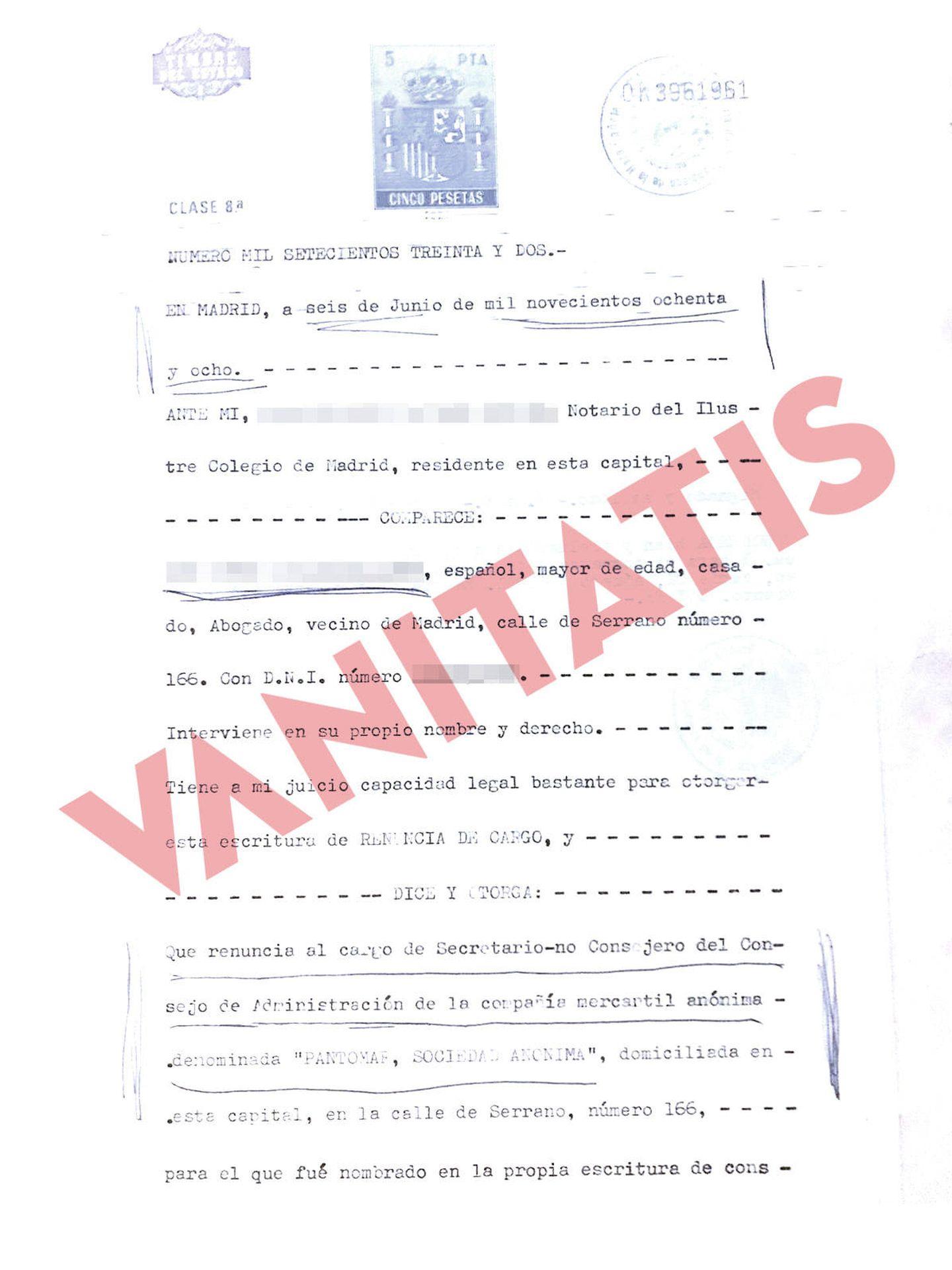 Reproducción del documento notarial que desvincula a Ramón Calderón de Pantomar.