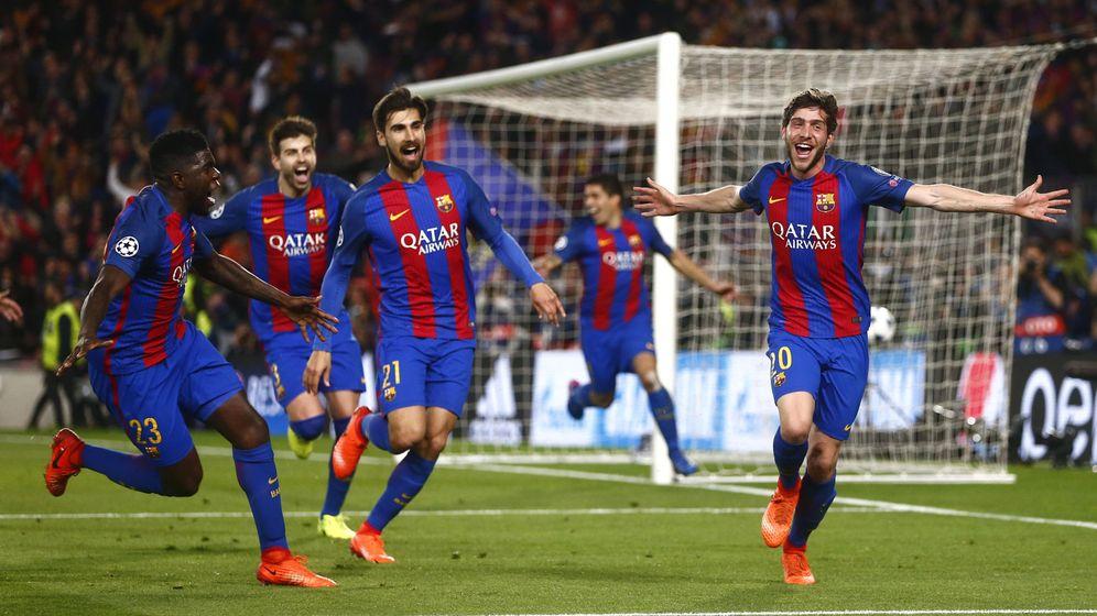 Foto: Sergi Roberto celebra el gol que certificó la remontada contra el PSG. (EFE)