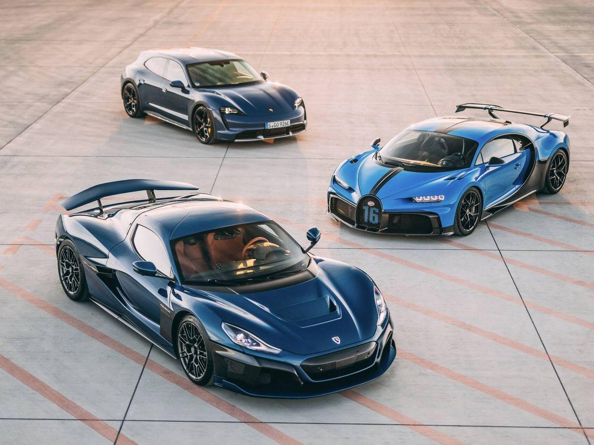 Foto: Rimac Nevera, Bugatti Chiron y Porsche Taycan Cross Turismo.