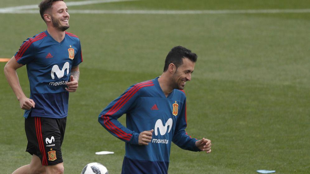 Foto: Saúl y Busquets entrenan con la Selección. (EFE)
