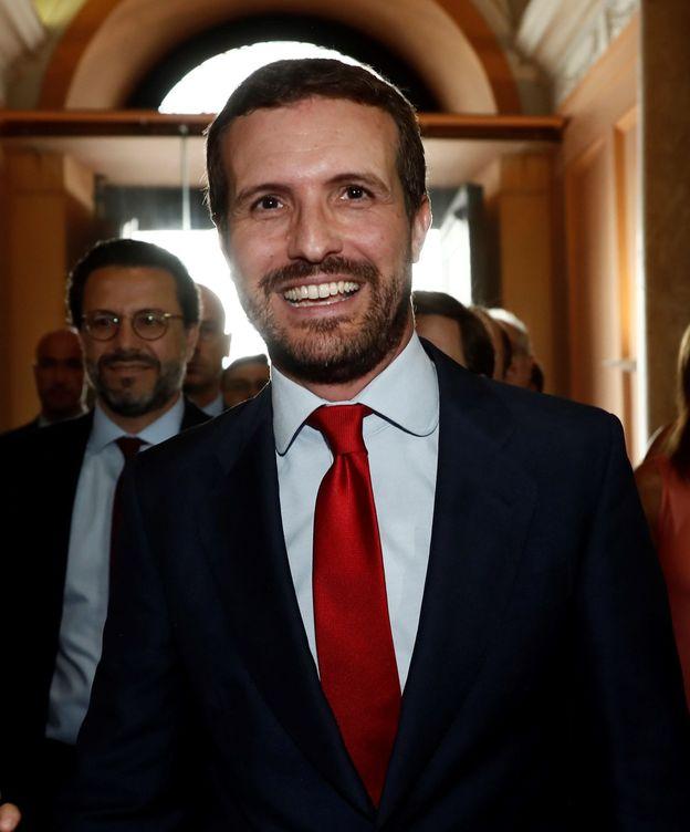 Foto: Pablo Casado, este lunes, en la toma de posesión de Ayuso. (EFE)