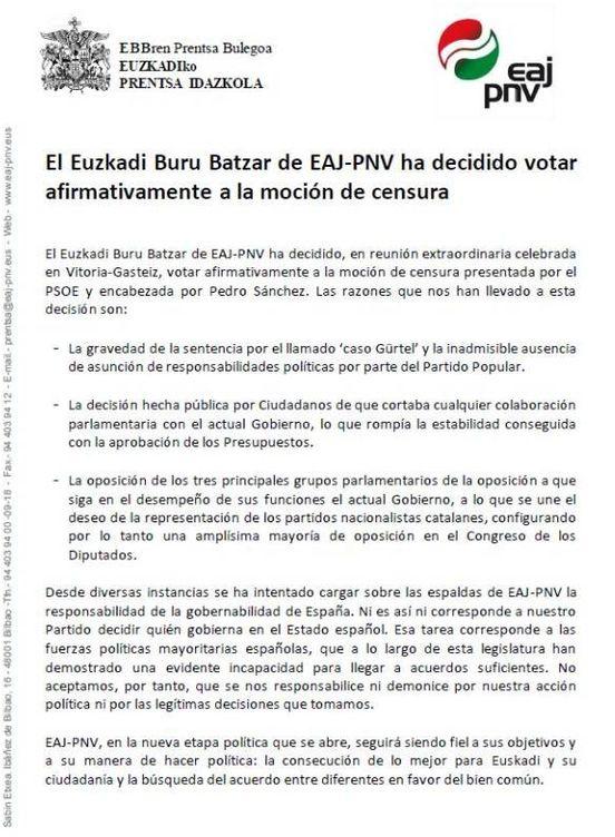 Foto: Comunicado del PNV sobre su decisión de apoyar la moción de censura | EAJ-PNV