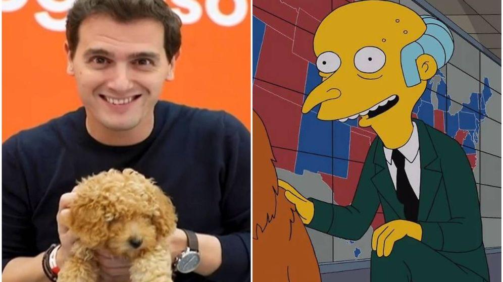 Foto: Una captura del vídeo de Albert Rivera y el perro Lucas junto a un fotograma de 'Los Simpson' compartido por Gabriel Rufián