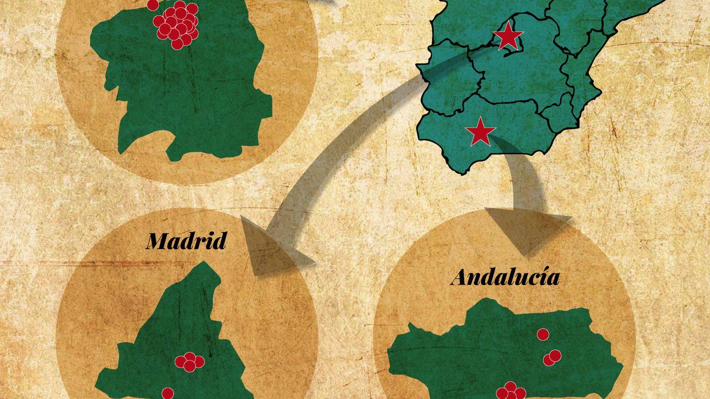Mapa con las propiedades repartidas por España. (VA)