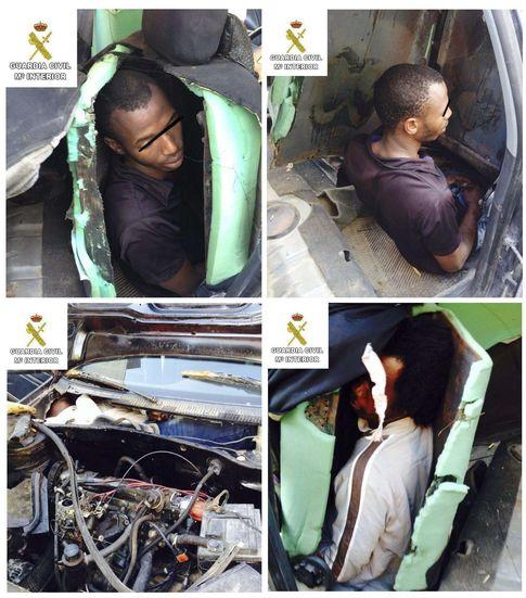 Foto: Interceptados tres inmigrantes en el interior de asientos y salpicadero de un coche (Ministerio del Interior)
