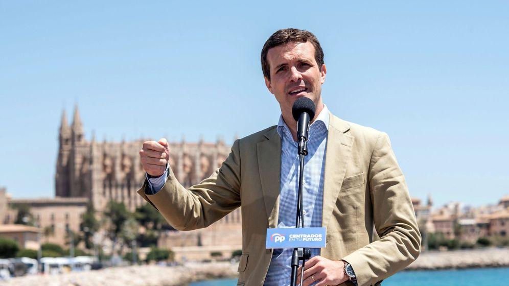 Foto: El presidente nacional del PP, Pablo Casado, interviene en un acto celebrado hoy en Palma de Mallorca (Efe)