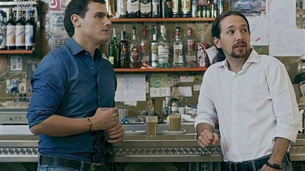 Foto: Albert Rivera y Pablo Iglesias, en la imagen promocional de 'Salvados'.