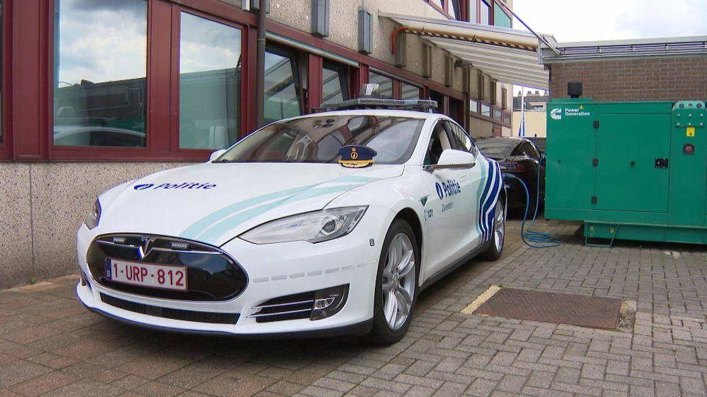 Foto: El Tesla 3 de la policía belga (Zaventem Police)