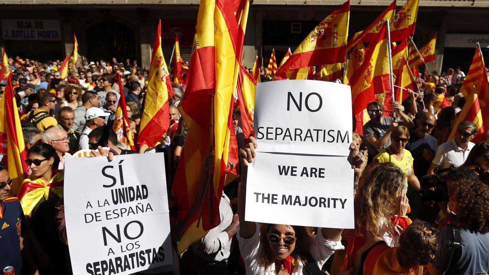 Foto: Fotografía de archivo de una manifestación en favor de la unidad de España en Barcelona. (EFE)