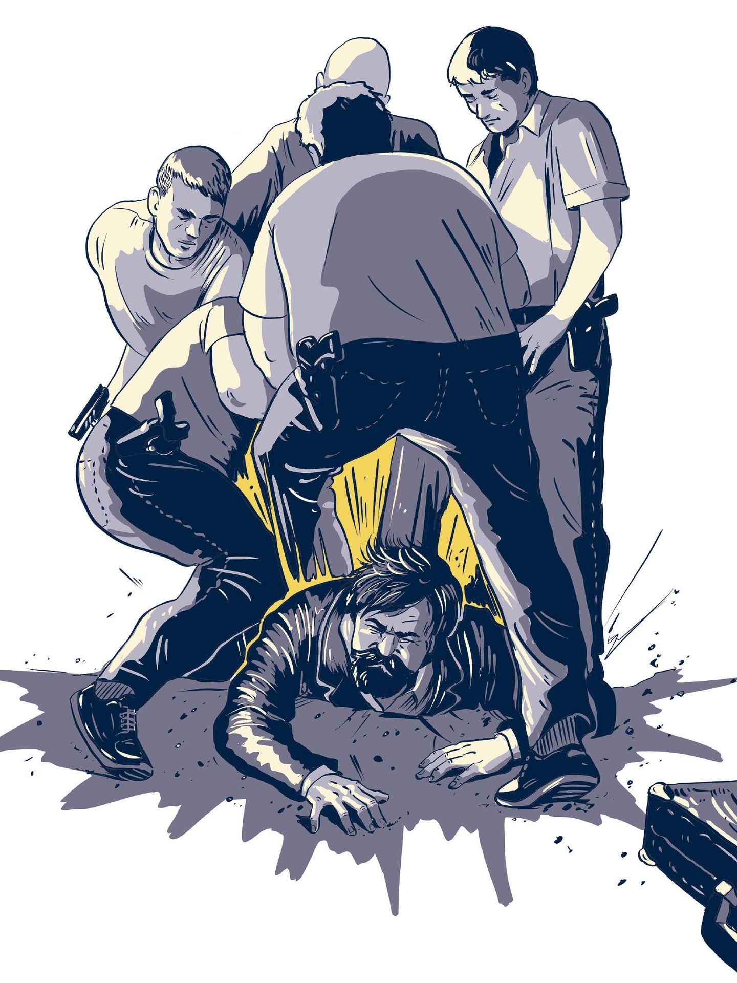 Recreación de la detención del Solitario.