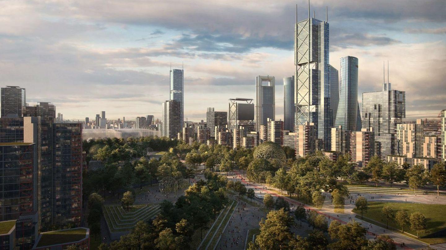 Recreación virtual de una de las zonas del proyecto urbanístico Madrid Norte.