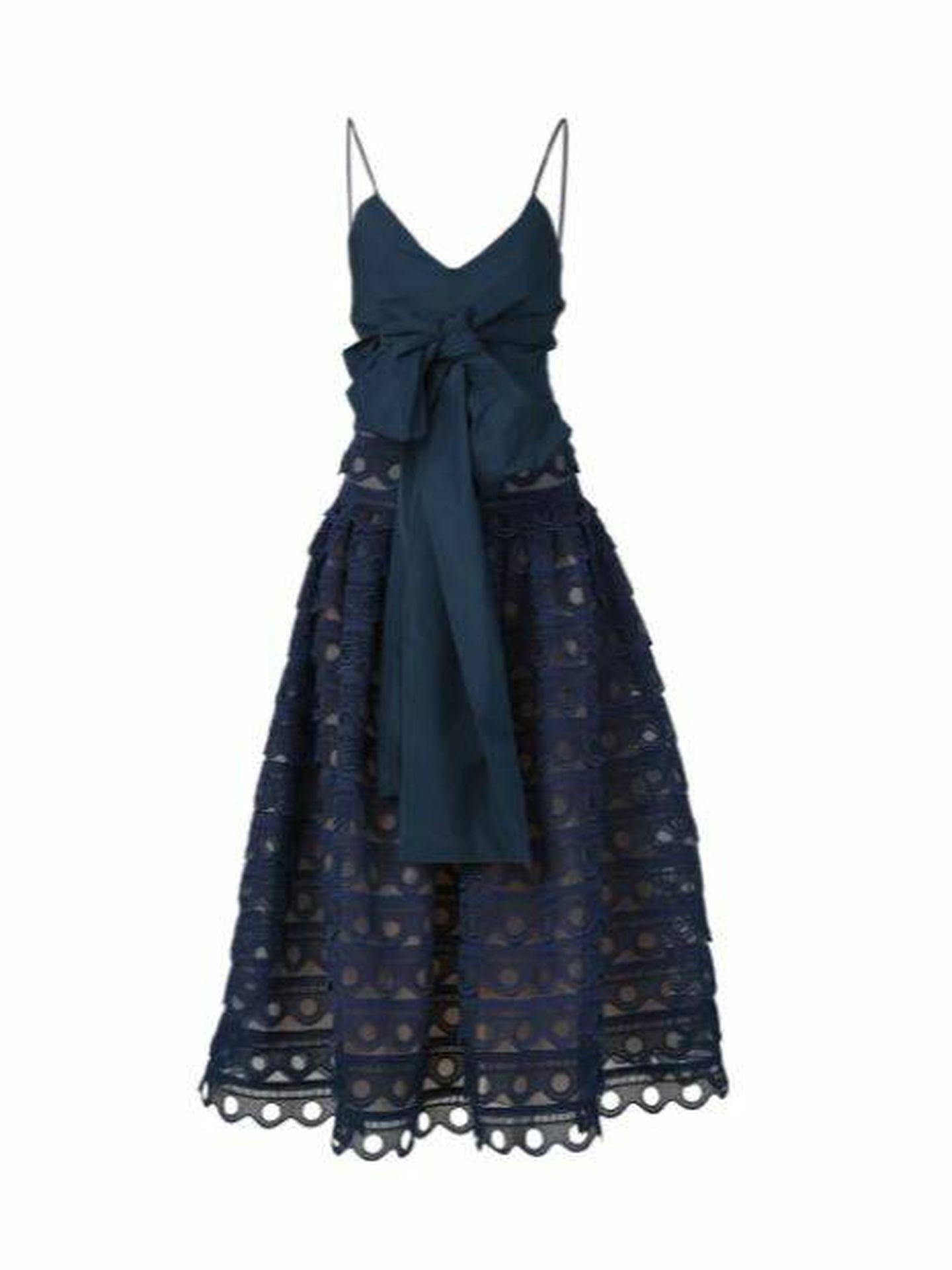 Vestido de Silvia Tcherassi que llevó Sara Carbonero. (Cortesía)