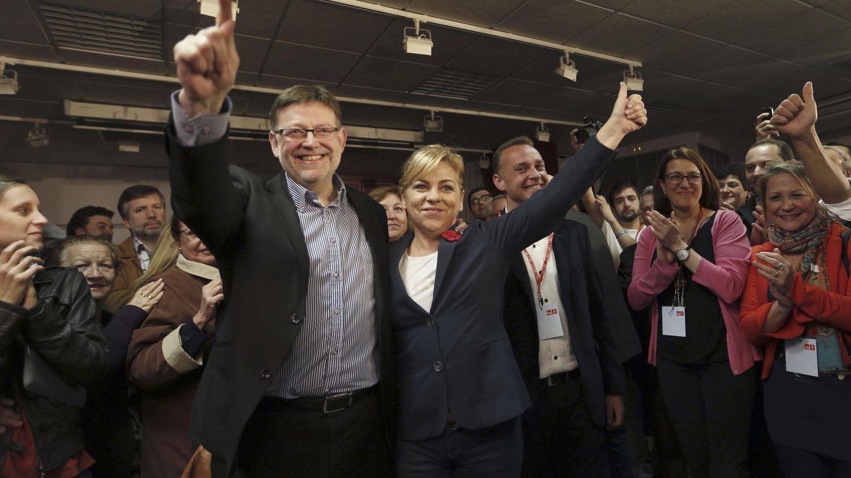 Ximo Puig ganó las primarias a la candidatura a la Presidencia de la Generalitat valenciana el 9 de marzo de 2014. Celebró su victoria la entonces número dos del PSOE, Elena Valenciano. (EFE)