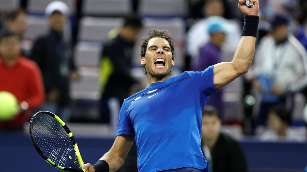 Foto: Nadal celebra su victoria ante Dimitrov en semifinales del Masters de Shanghái. (Reuters)